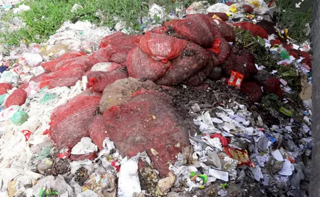 কুমিল্লায় সেতুর নিচে ময়লার ভাগাড়ে বস্তা বস্তা পঁচা পিয়াজ